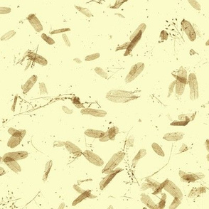 faux mulberry paper -  brown leaves on cream