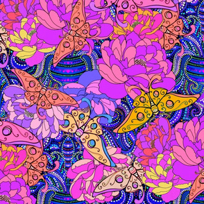 tossed peonies  luna moth damask in nightlife