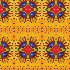 Yellow Orange geometric eye pattern-ed