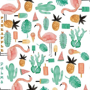 Pink Flamingos And Pineapples