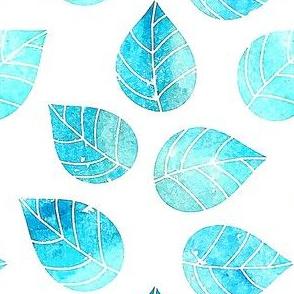 Watercolor Aqua Leaves