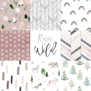 Run Wild // Woodland and Boho Florals Cheater Quilt / Wholecloth