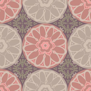 Exotic Indian Mandala Tiles Pink Brown Beige