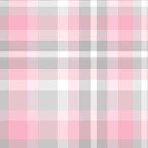 Pink Gray Grey Plaid Tartan Checked