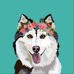 "18"" Husky Dog Pillow with cut lines - dog pillow panel, dog pillow, pillow cut and sew - floral"