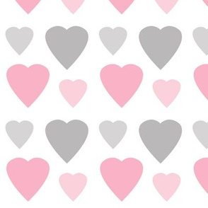 Hearts Pink Gray Grey