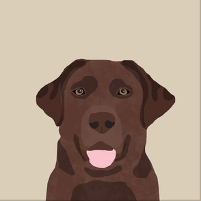 """18"""" Chocolate Labrador Pillow with cut lines - dog pillow panel, dog pillow, pillow cut and sew -"""