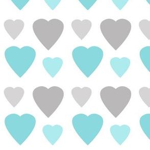 Hearts Aqua Blue Gray Grey