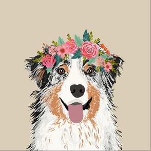 """18"""" Australian Shepherd Dog Blue Merle Pillow with cut lines - dog pillow panel, dog pillow, pillow cut and sew - floral"""