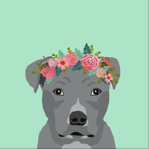 """18"""" Pitbull Grey Dog Pillow with cut lines - dog pillow panel, dog pillow, pillow cut and sew - floral"""