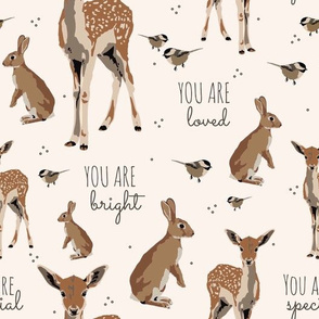 woodland animal affirmations in  light blush