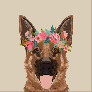 "18"" German Shepherd Dog Pillow with cut lines - dog pillow panel, dog pillow, pillow cut and sew - floral"