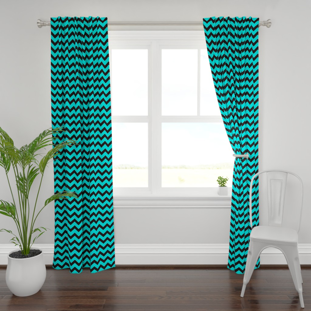 Plymouth Curtain Panel featuring Black And Aqua Chevron by gypsea_art_designs