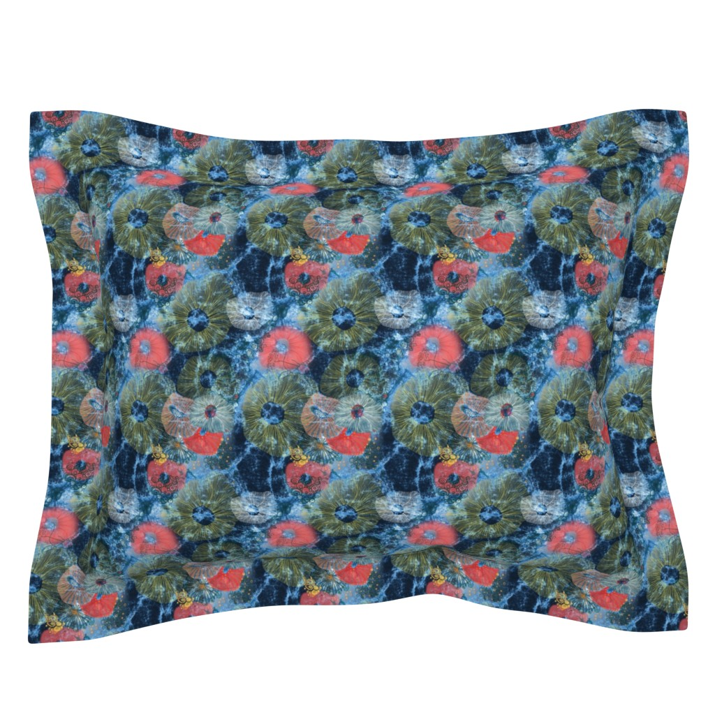 Sebright Pillow Sham featuring life on the reef acid wash distressed Indigo Navy by mimipinto