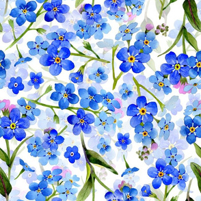 "14"" hand drawn watercolor forget-me-not flowers on white double layer"
