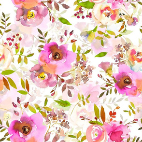 """14"""" Spring Colors Hand drawn roses and flowers little bouquets"""