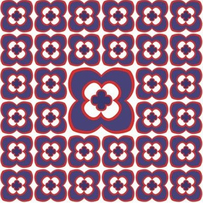 Mod flower - purple, red and white