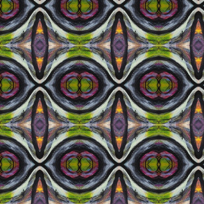 Asbtract art pattern of ovals and circles with bold black lines