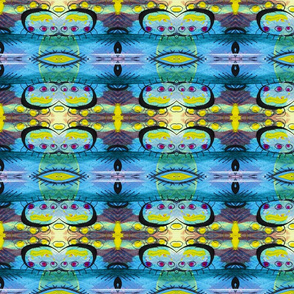 Abstract painted stripe art in blue and yellow