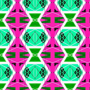 Acidic Pink and Green Retro 1980s Diamond shape pattern