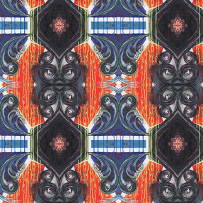 Bold Modern Baroque Style Painted pattern