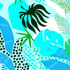 Tropical Foliage - Blue and Green Boho