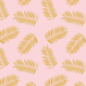 Palm leave summer jungle sweet surf theme tropical garden print golden beige SMALL