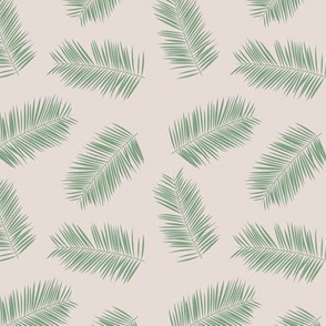 Palm leave summer jungle sweet surf theme tropical garden print green beige SMALL