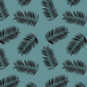 Palm leave summer jungle sweet surf theme tropical garden print blue black SMALL