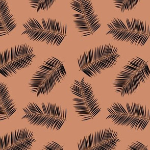 Palm leave summer jungle sweet surf theme tropical garden print copper black SMALL