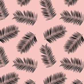 Palm leave summer jungle sweet surf theme tropical garden print pink blush black SMALL