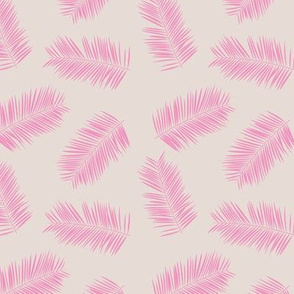 Palm leave summer jungle sweet surf theme tropical garden print pink monochrome pink beige SMALL
