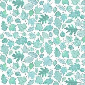 small teal leaf etchings