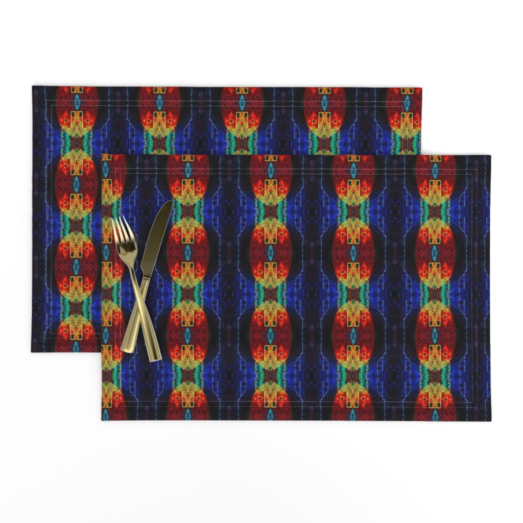 Lamona Cloth Placemats featuring LWD Red Sphere Dark Blue Sky by loriwierdesigns