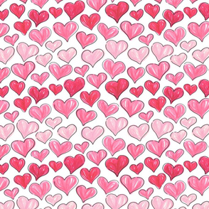 Graphic Marker Hearts- Pink Ombre // hand-drawn valentines pink heart fabric giftwrap