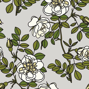 Climbing roses on grey - small