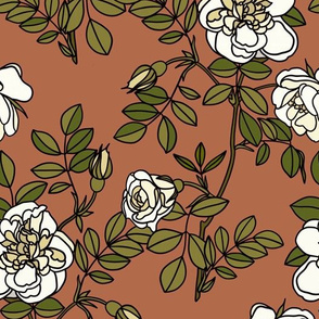 Climbing roses in terracotta - small
