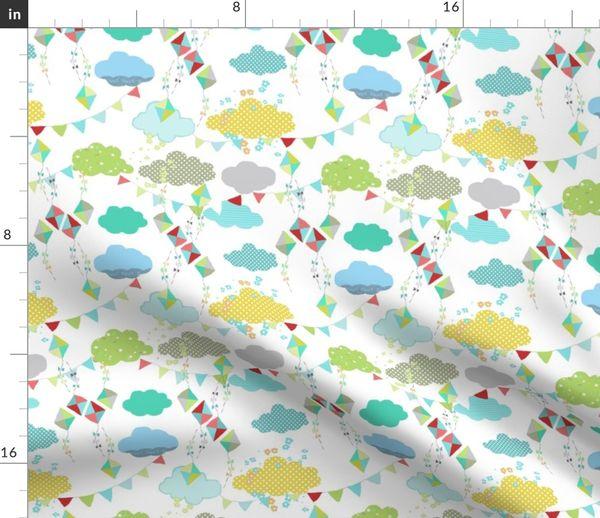 Stoff-Meterware geometrisch, Wolken, Kinderzimmer, abstrakt, Muster,  verspielt, Drachen, Tapete