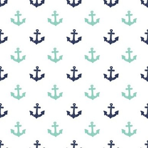 Mint and Navy Anchors by Angel Gerardo