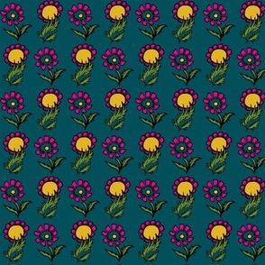 Double daisy in dark blue