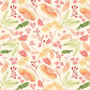 19-4AD Spring Coral Floral Watercolor Flower Cream