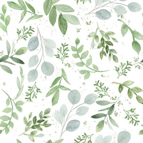 Soft Watercolor Leaves Medium pattern