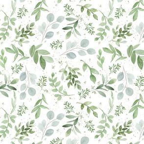 Soft Eucalyptus Watercolor Smaller Leaves Pattern