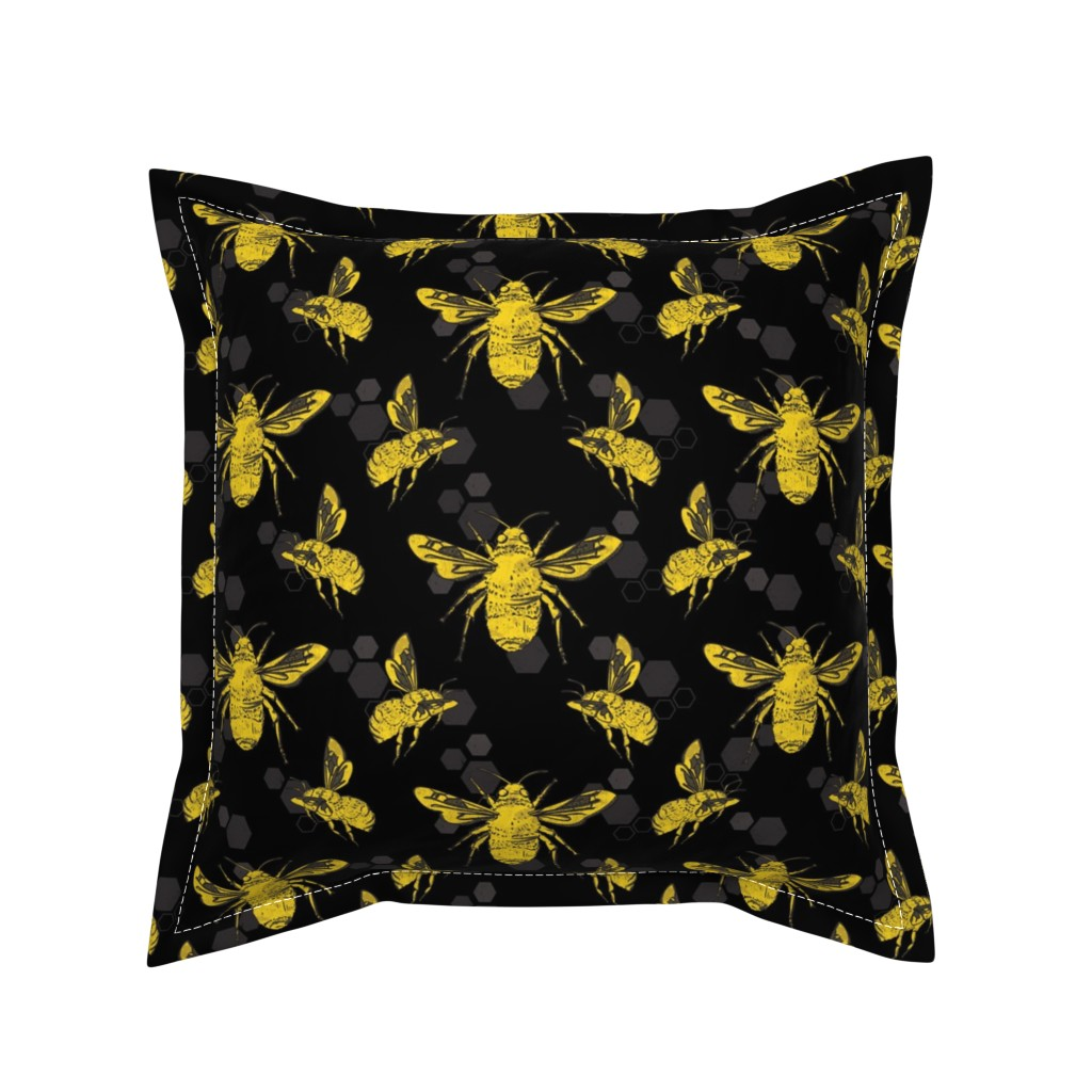 Serama Throw Pillow featuring Bold Bees by lucaswoolleydesigns