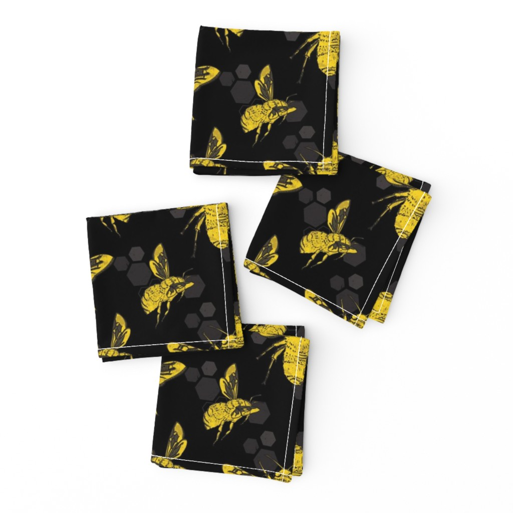 Frizzle Cocktail Napkins featuring Bold Bees by lucaswoolleydesigns