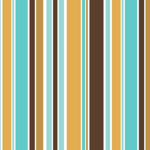 Bold Vertical Stripes in Turquoise, Amber, Brown and White