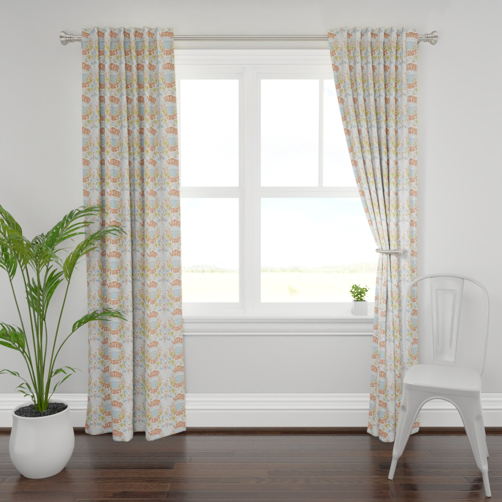 Plymouth Curtain Panel featuring Water Yourself First by leiah