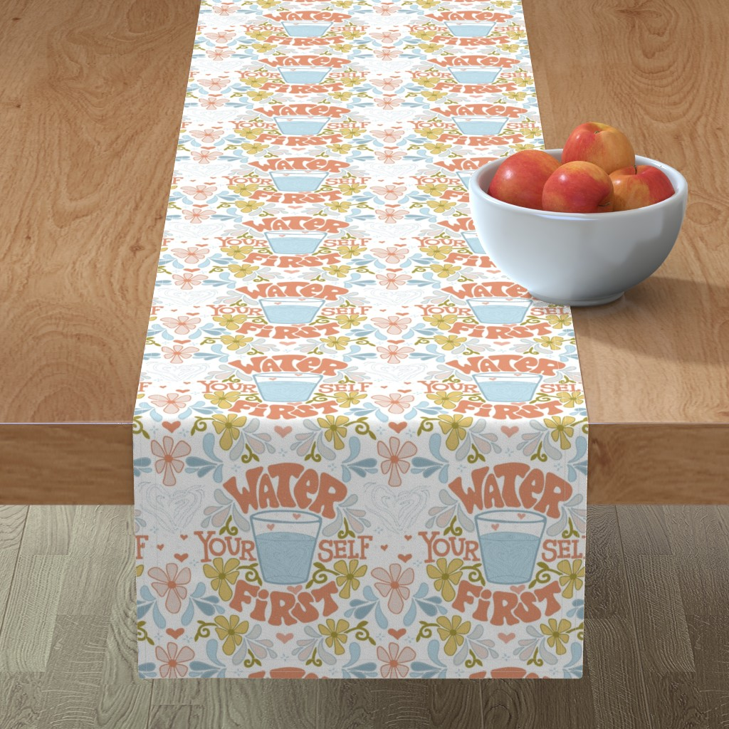 Minorca Table Runner featuring Water Yourself First by leiah