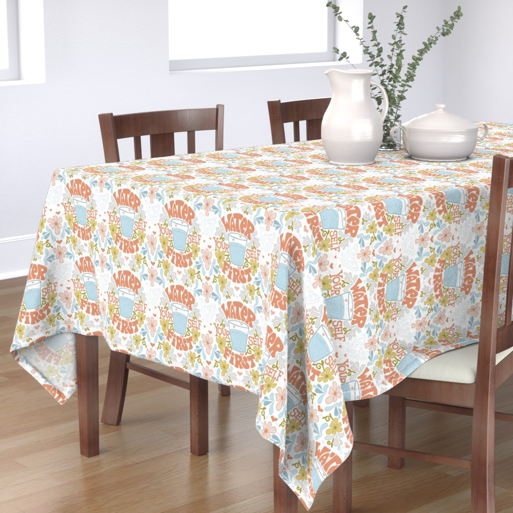 Bantam Rectangular Tablecloth featuring Water Yourself First by leiah