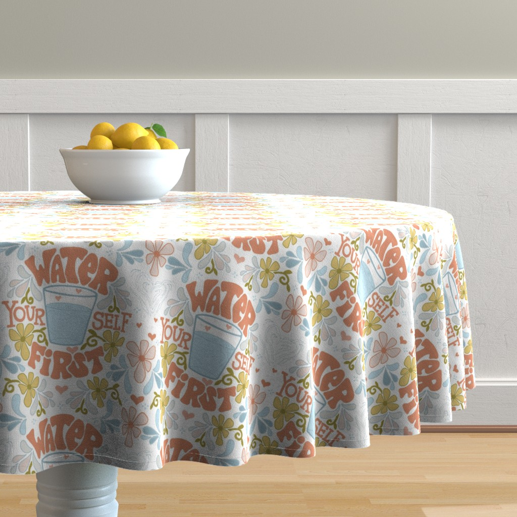 Malay Round Tablecloth featuring Water Yourself First by leiah